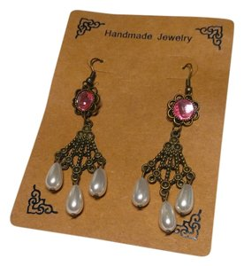 Other New Antiqued Gold Pearl Chandelier Earrings Mauve Long J2155 Summersale