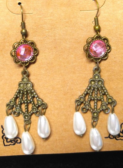 Antiqued gold mauve new pearl chandelier long j2155 earrings tradesy other new antiqued gold pearl chandelier earrings mauve long j2155 aloadofball Image collections