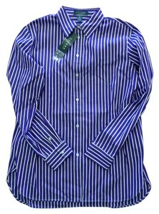 Lauren Ralph Lauren Dress Shirt Women Top Purple/White