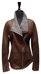 V.SP Leather Shearling Lambskin Brown w Gray Leather Jacket