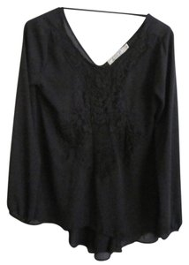 Chloe K Flowy Lace Trim Lace Embroidered Top Black