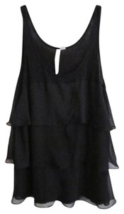LC Lauren Conrad Sheer Tiered Sleeveless Shell Evening Dressy Top Black