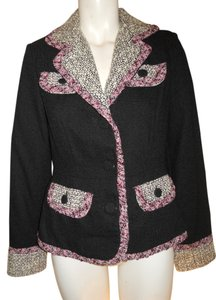 True Meaning Black, white, pink & burgundy tweed Blazer