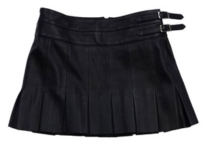 Joie Black Leather Pleated Mini Skirt