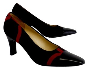 Salvatore Ferragamo Brown Black Red Cap Toe Heels Pumps
