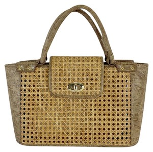 Stuart Weitzman Wicker Leather Tote