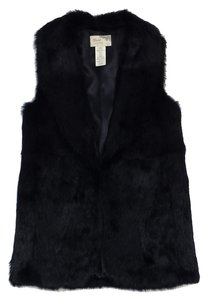 Elizabeth and James Black Rabbit Fur Fur Vest