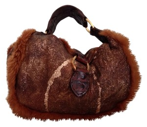 Desmo Made in Italy Rabbit Fur Leather Satchel in Brown Glitter