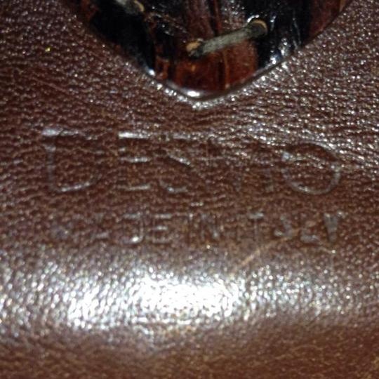 Desmo Made in Italy Rabbit Fur Leather Genuine Fur Satchel in Brown Glitter