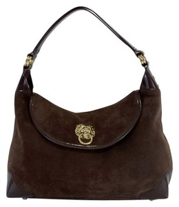 Lilly Pulitzer Brown Suede Patent Leather Shoulder Bag