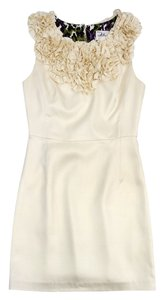 MILLY short dress Cream Floral Embellished Silk on Tradesy