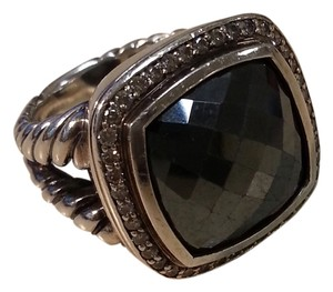 David Yurman David Yurman Albion Collection - 14mm Hematite and Pave Diamond Sterling Silver Ring