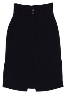 Chanel Black Silk A Line Skirt