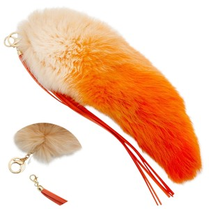 Other Orange Pom Pom Fur Tail Leather Tassel Bag/Purse Charm Key Chain Accessory