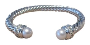 David Yurman David Yurman Cable Classics Collection - 7mm White Freshwater Cultured Pearl & Diamond Cuff Bracelet, Medium