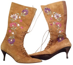 Donald J. Pliner Tan with colored flowers Boots