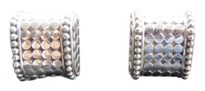 John Hardy Sterling Silver Dot Earrings with Beaded Edges; Omega Backs