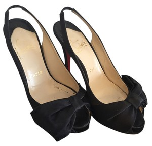 Christian Louboutin Peep Toe Satin Platform Black Pumps