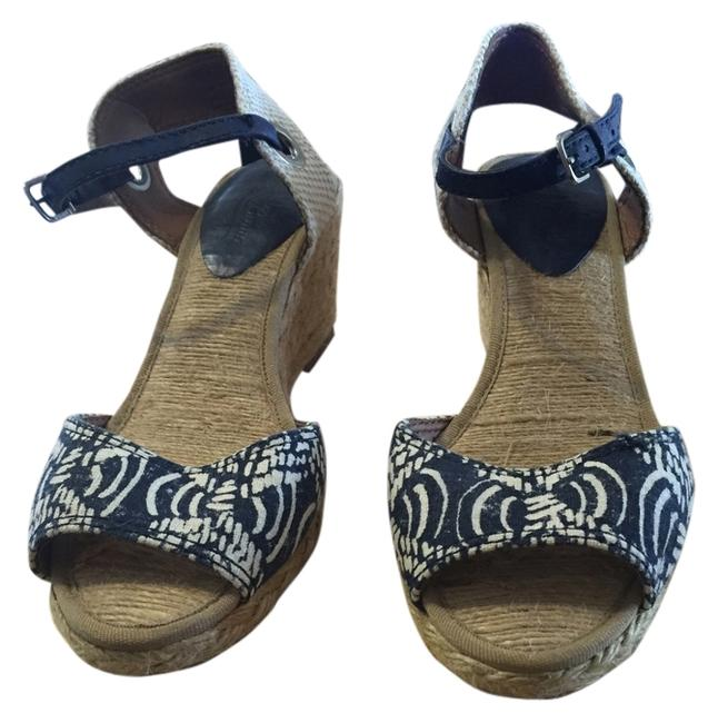 Lucky Brand Blue & Natural Wedges Size US 6 Regular (M, B) Lucky Brand Blue & Natural Wedges Size US 6 Regular (M, B) Image 1