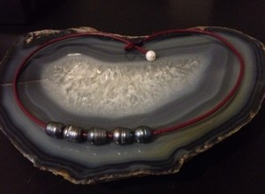 Lether Necklace With Pearl