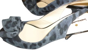 Kate Spade Oversized Bow Suede Heels Black Gray Pumps
