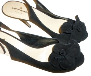 Kate Spade Suede Heels New York Peep Toe Slingback Closure Black Gray Pumps