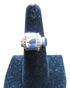 Lagos Lagos Sterling Silver and 18k Yellow Gold Caviar Beaded Smooth Dome Ring, Size 7