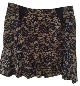 Nicole Miller Nude Floral Mini Skirt Black