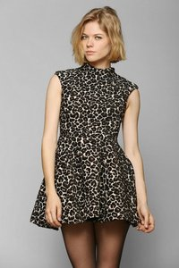 C/meo Collective Fit And Flare Skater Turtleneck Cheetah Dress