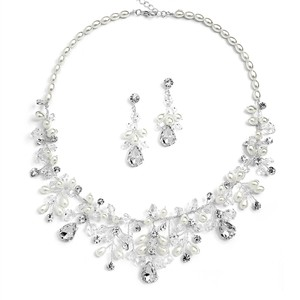 Mariell Handmade Bridal Necklace Set With Assorted Crystals And Rice Pearls 4009s