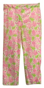 Lilly Pulitzer Size 4 Straight Pants White, pink and green