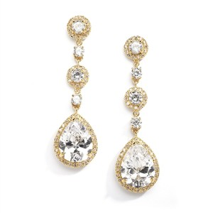 Mariell Best-selling Pear-shaped Drop Bridal Earrings With Gold Pave Cz - Clip On 400ec-g