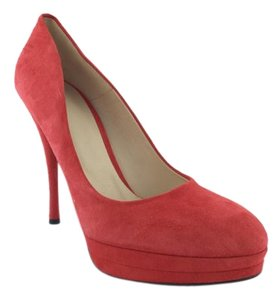 Versace Suede Platform Orangish Red Pumps