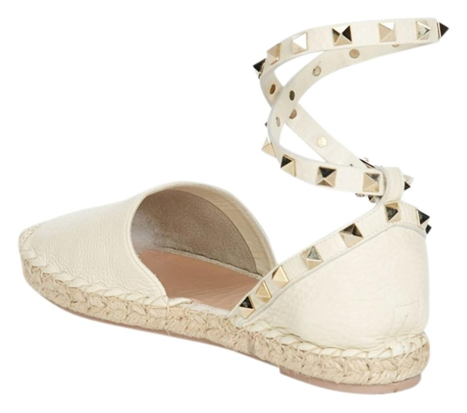 Valentino Ivory Off-white Studded Leather Gladiator Ankle Wrap Espadrille Pebbled Leather Studded Flats 8ac4dd