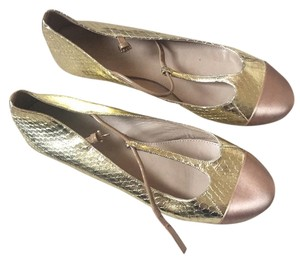 J.Crew Gold and tan Flats