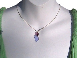 Other Sterling Silver Blue & Amethyst Necklace (#136)