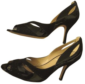 Tahari Open Toe Mixed Media Leather Suede Cut-out Black Pumps