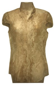 Elie Tahari Beaded Silk Embroidered Pettite Button Down Shirt tan