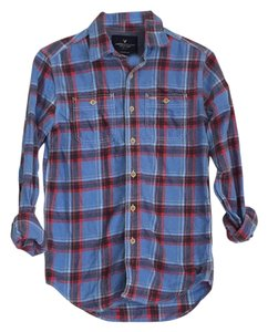 American Eagle Outfitters Button Down Shirt Red/Blue Flannel