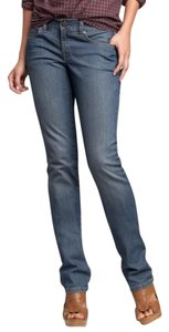 Gap * Low Rise * Zip Fly Slim In Hip & Thigh * Whiskering * Marking Detail Straight Leg Jeans-Medium Wash