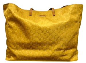 ff6548df379 Gucci Guccissima Nylon-guccissima Extra Large Weekend Travel Tote in Mustard