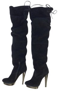Steve Madden Suede Knee High Over The Knee Black Boots