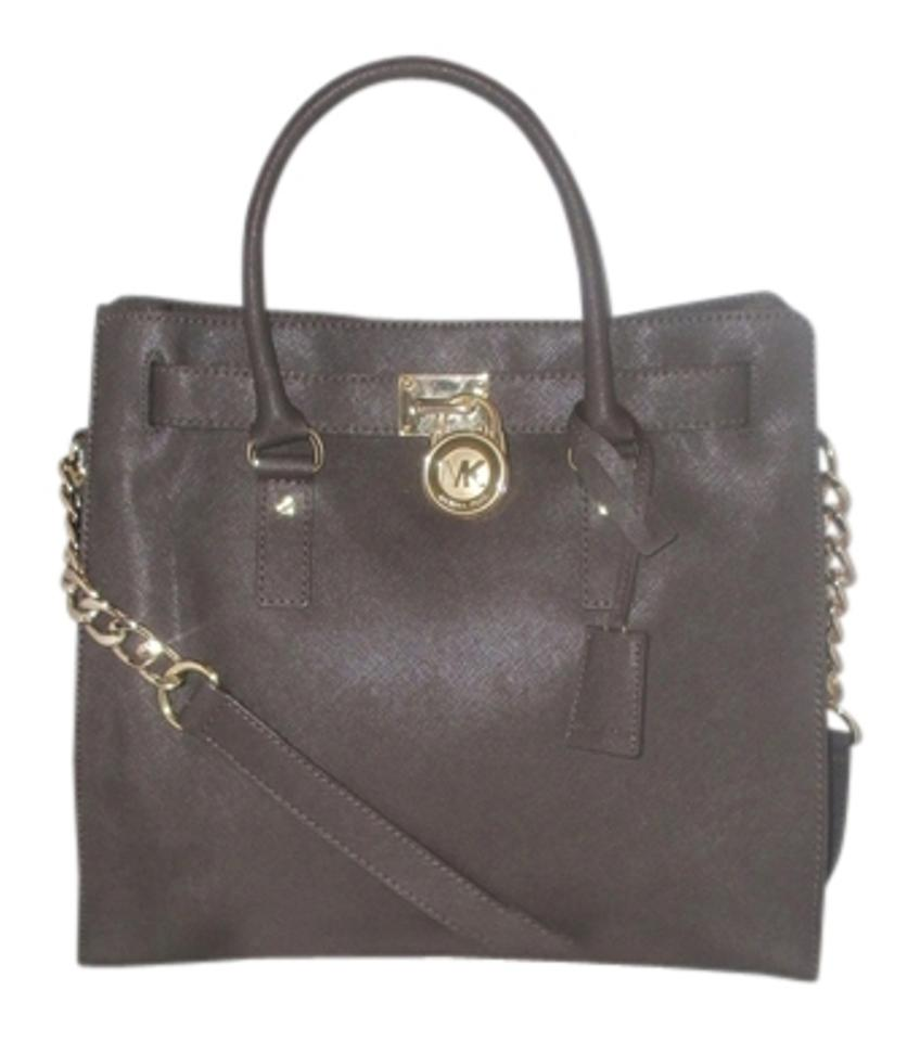 Michael Kors Hamilton Large Saffiano Shoulder Handbag Satchel Dark Brown Leather Tote