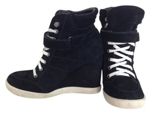 Steve Madden Sneaker Wedge Suede Black Wedges