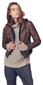 DOMA Leather Hood Truffle Leather Jacket