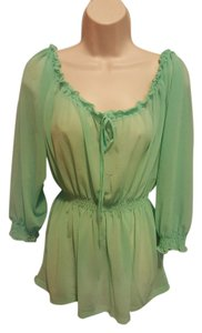 Forever 21 Cute Sheer Chiffon Top Mint Green