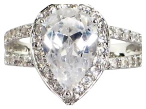WEEKEND SALE NEW 3.8TCW Pear Shape 2/1 Ring TRIPLE PLATINUM COATED REG $99