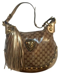 Gucci Studded Monogram Gold Shoulder Bag