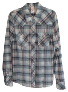 True Religion Button Down Shirt Lite blue, white, turquois, grey and white. Mewly dry cleaned
