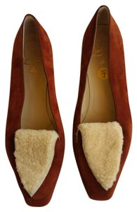 Christian Louboutin Suede Sheepskin Leather Rust Flats